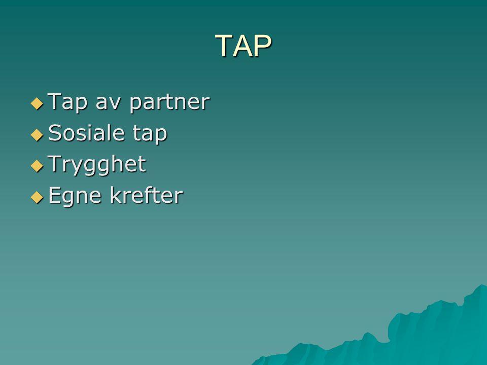 TAP Tap av partner Sosiale tap Trygghet Egne krefter