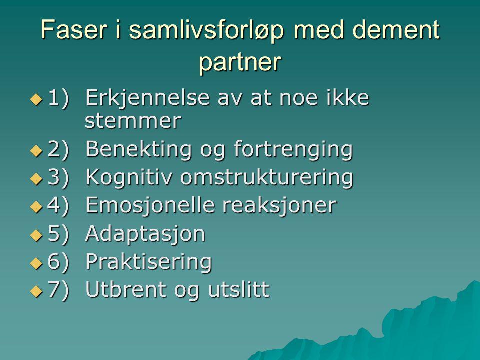 Faser i samlivsforløp med dement partner