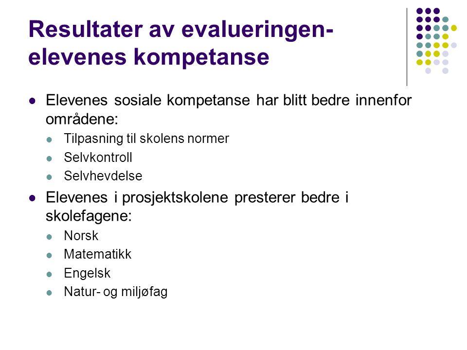 Resultater av evalueringen- elevenes kompetanse