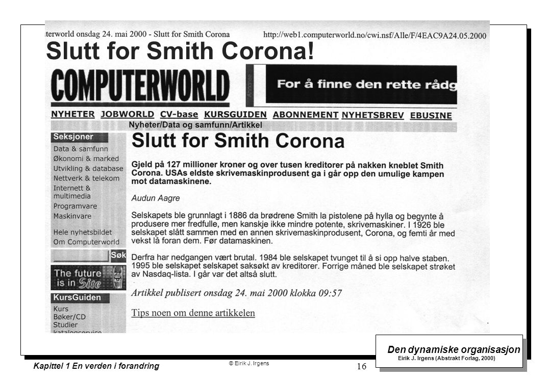 Slutt for Smith Corona!