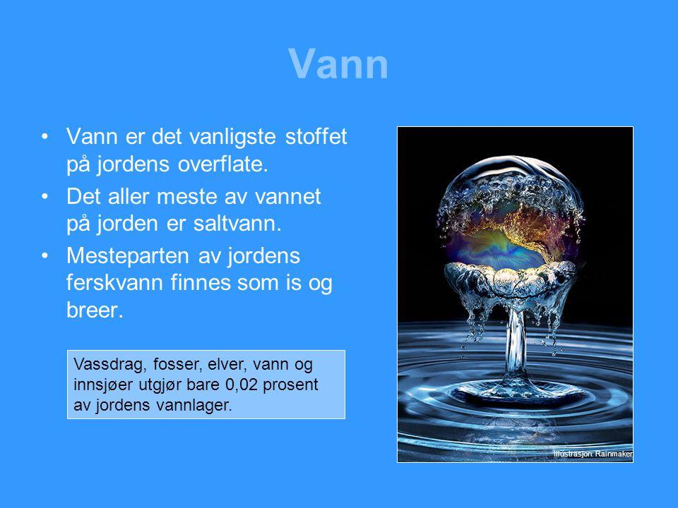 Vann Vann er det vanligste stoffet på jordens overflate.