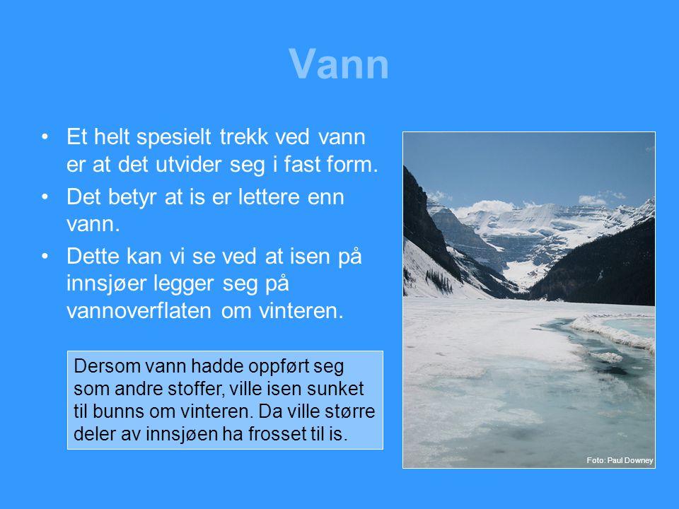 Vann Et helt spesielt trekk ved vann er at det utvider seg i fast form. Det betyr at is er lettere enn vann.