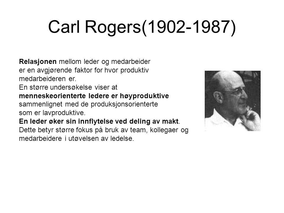 Carl Rogers(1902-1987) Relasjonen mellom leder og medarbeider