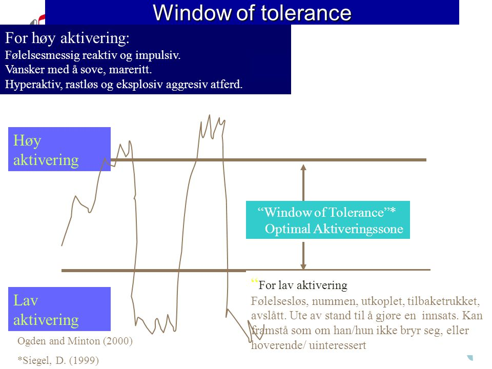 Window of tolerance For høy aktivering: Høy aktivering