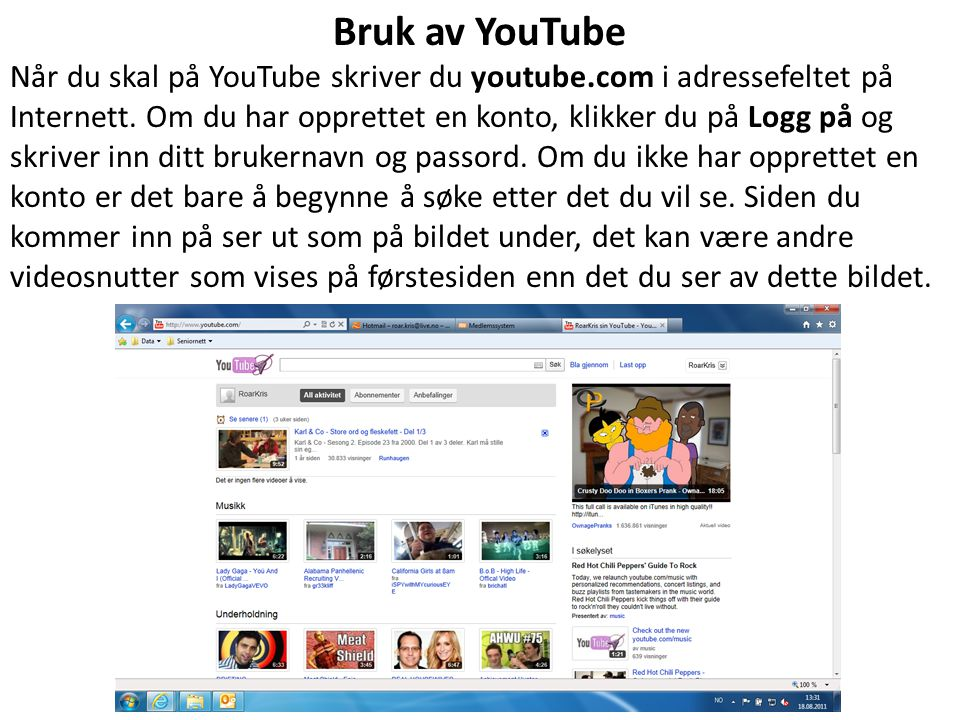 Bruk av YouTube