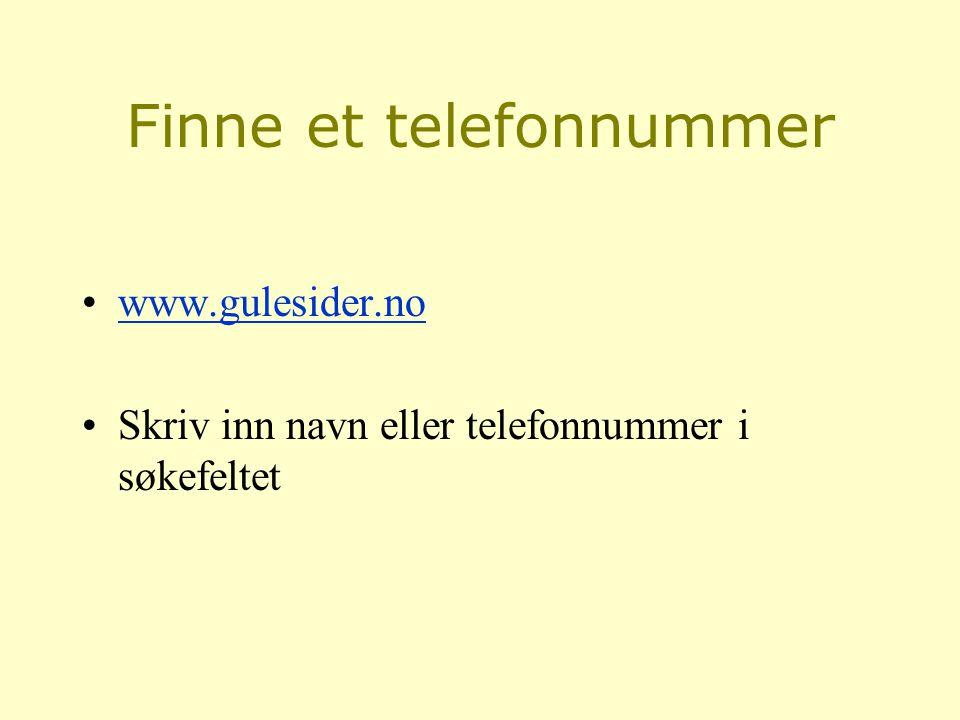 Finne et telefonnummer
