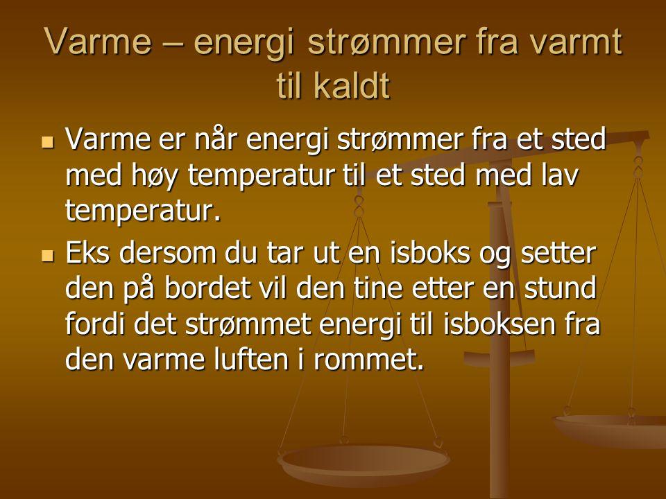 Varme – energi strømmer fra varmt til kaldt
