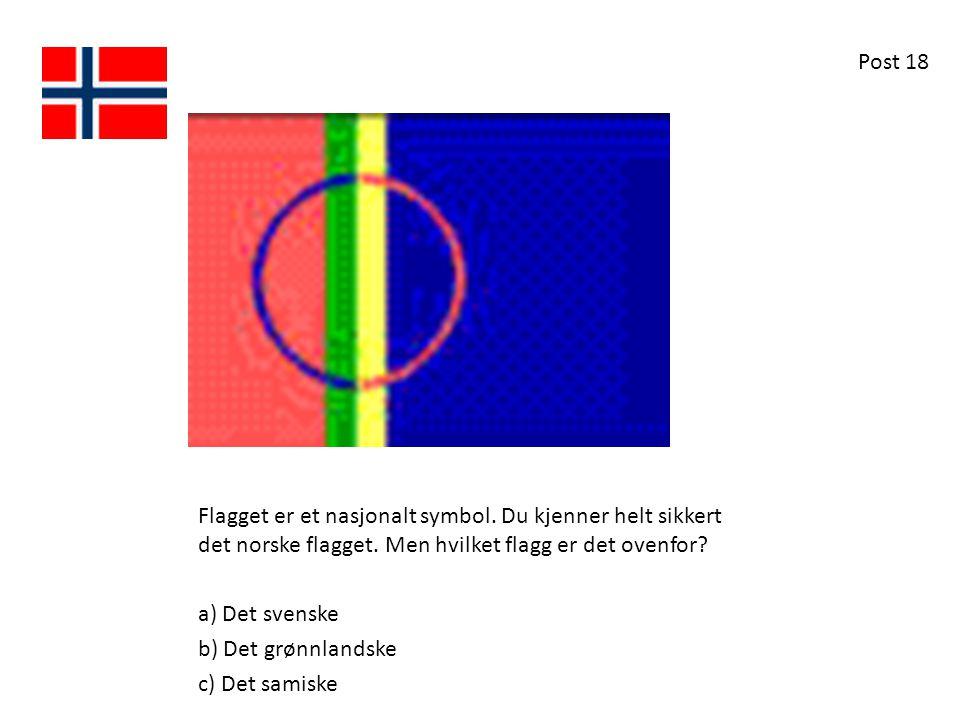 Post 18 Flagget er et nasjonalt symbol. Du kjenner helt sikkert det norske flagget. Men hvilket flagg er det ovenfor