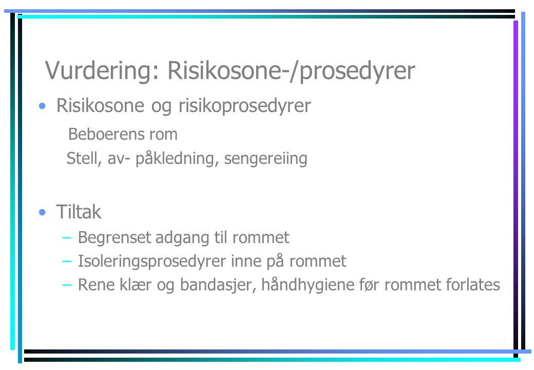 Vurdering: Risikosone-/prosedyrer