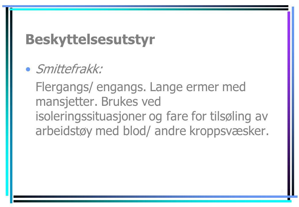 Beskyttelsesutstyr Smittefrakk: