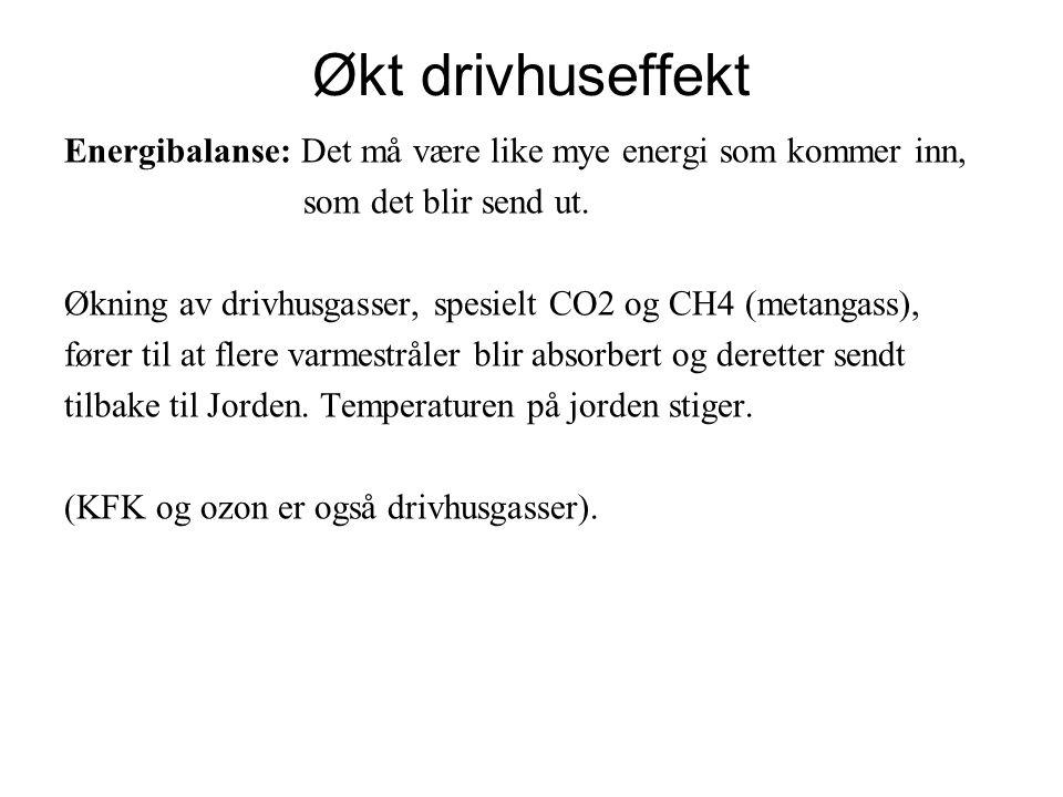 Økt drivhuseffekt Energibalanse: Det må være like mye energi som kommer inn, som det blir send ut.