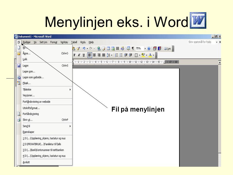 Menylinjen eks. i Word Fil på menylinjen