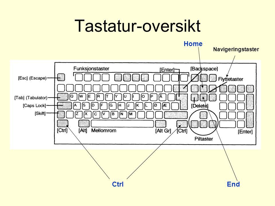 Tastatur-oversikt Home Navigeringstaster Ctrl End