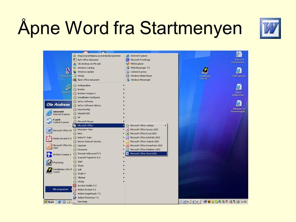 Åpne Word fra Startmenyen