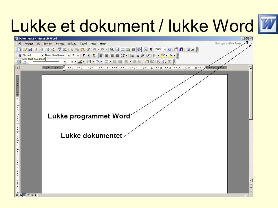 Lukke et dokument / lukke Word