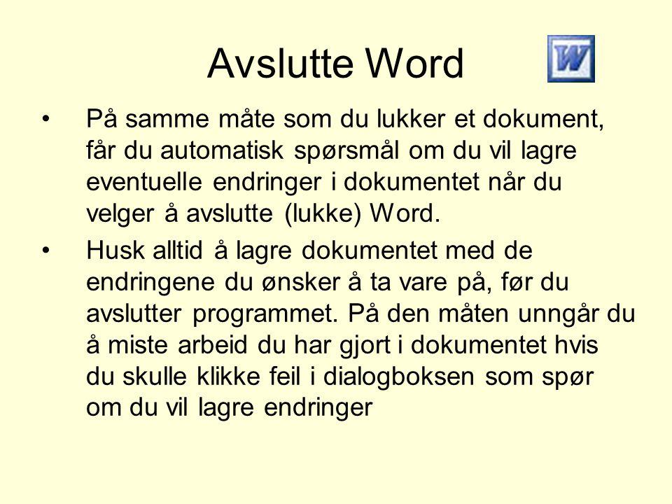 Avslutte Word