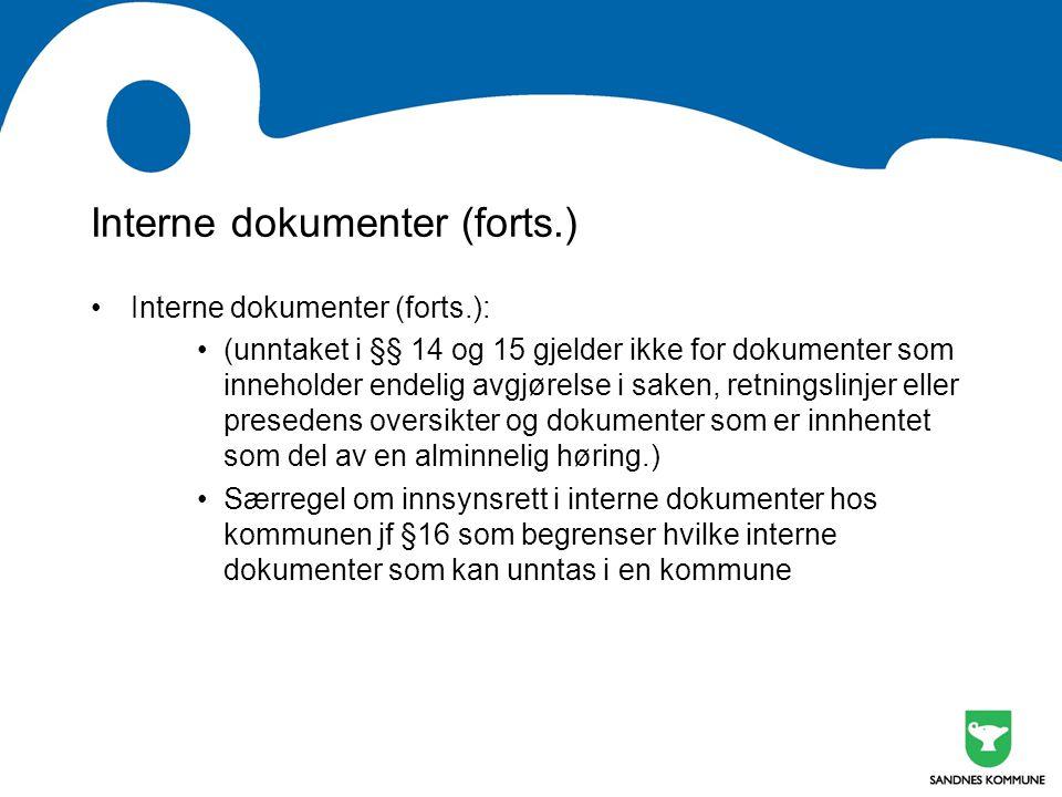 Interne dokumenter (forts.)