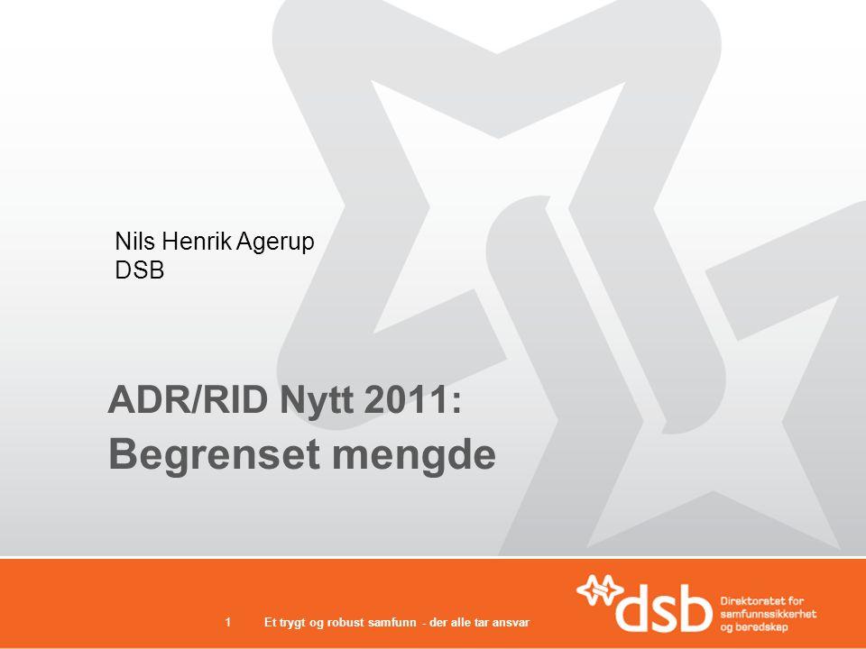ADR/RID Nytt 2011: Begrenset mengde