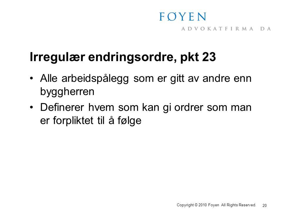 Irregulær endringsordre, pkt 23