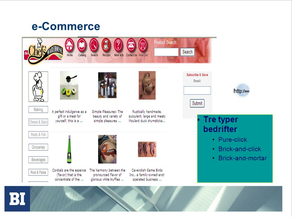 e-Commerce Tre typer bedrifter Pure-click Brick-and-click