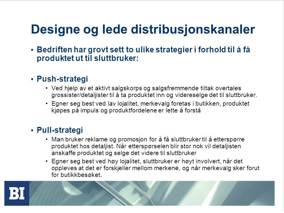 Designe og lede distribusjonskanaler