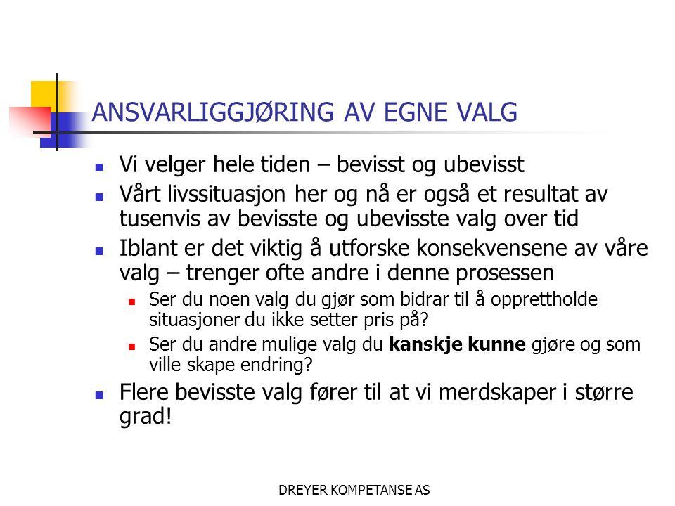ANSVARLIGGJØRING AV EGNE VALG