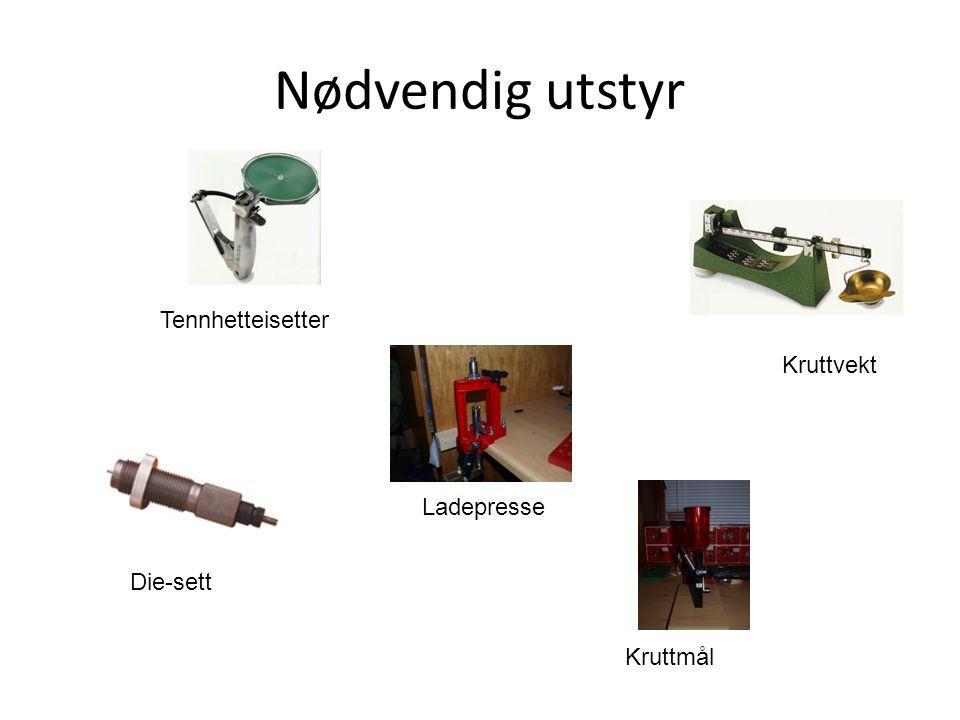 Nødvendig utstyr Tennhetteisetter Kruttvekt Ladepresse Die-sett