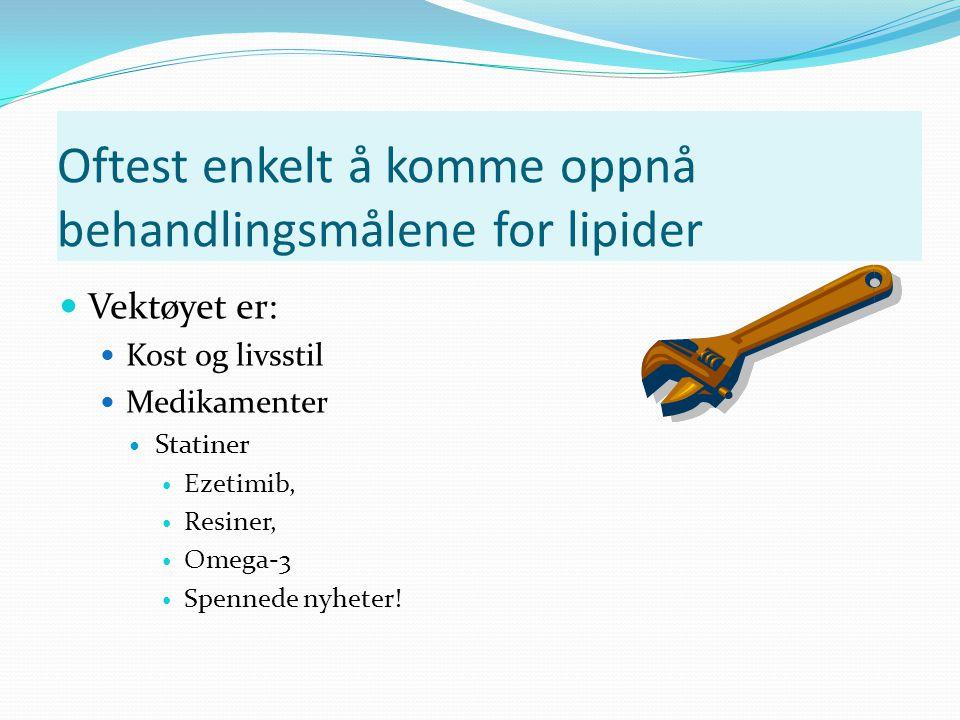 Oftest enkelt å komme oppnå behandlingsmålene for lipider