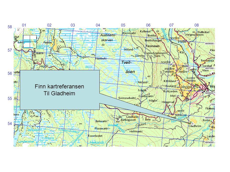 Finn kartreferansen Til Gladheim 01 02 03 04 05 06 07 08 58 57 56 55