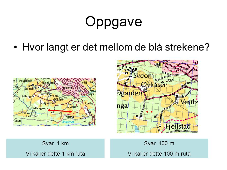 Oppgave Hvor langt er det mellom de blå strekene Svar. 1 km