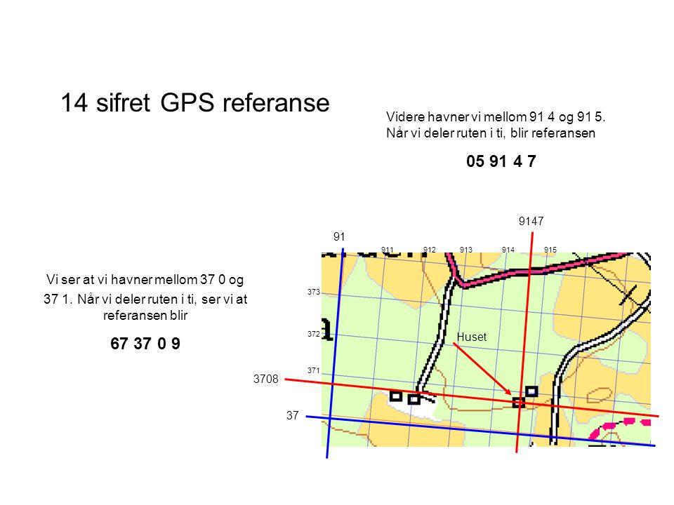 14 sifret GPS referanse Videre havner vi mellom 91 4 og 91 5. Når vi deler ruten i ti, blir referansen.