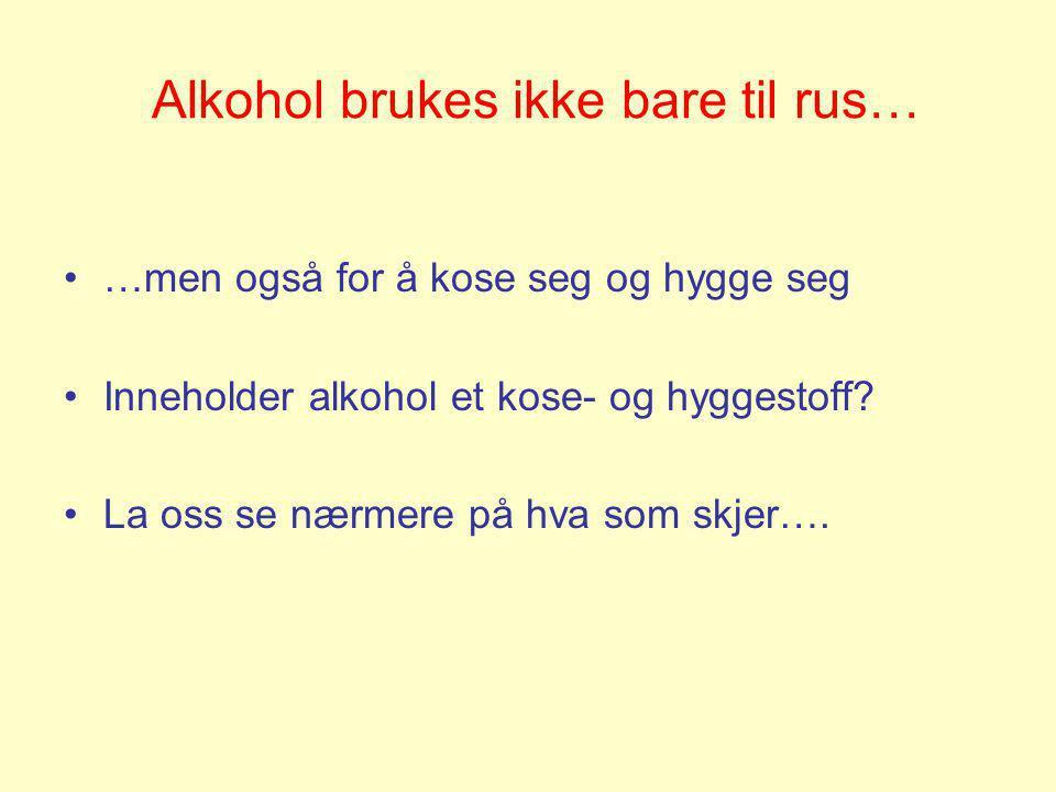 Alkohol brukes ikke bare til rus…