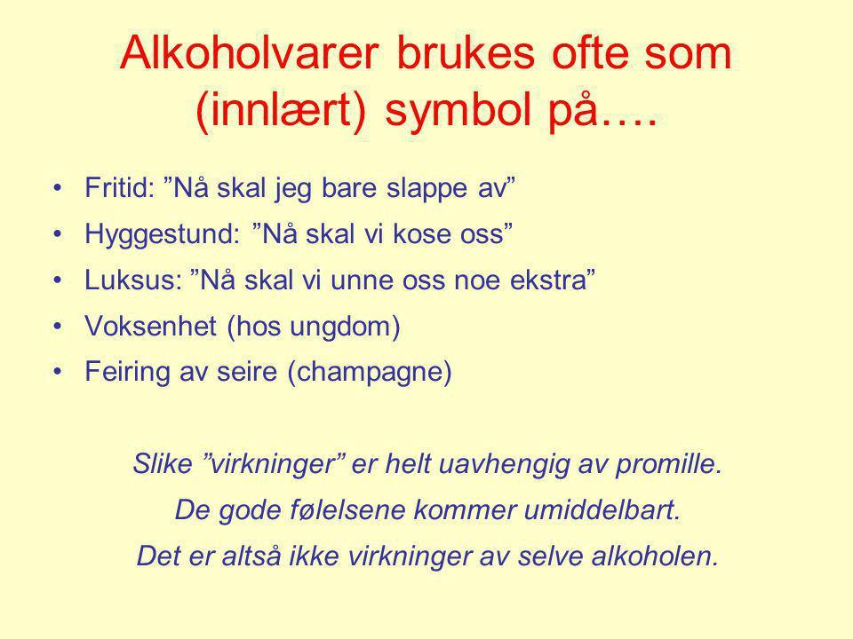 Alkoholvarer brukes ofte som (innlært) symbol på….