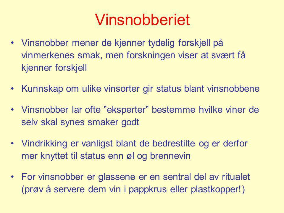 Vinsnobberiet Vinsnobber mener de kjenner tydelig forskjell på vinmerkenes smak, men forskningen viser at svært få kjenner forskjell.