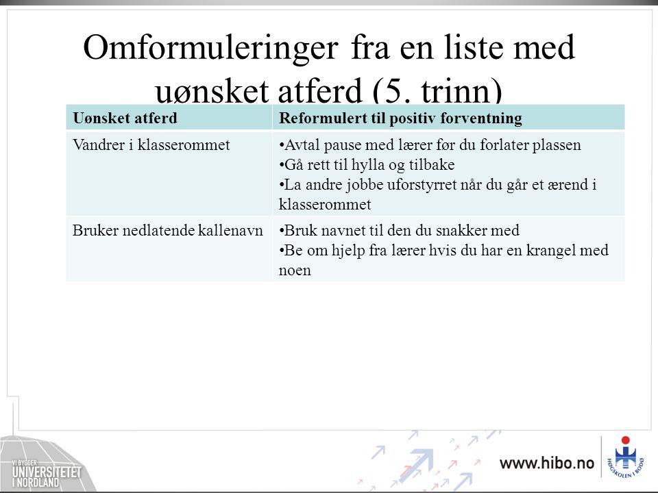 Omformuleringer fra en liste med uønsket atferd (5. trinn)