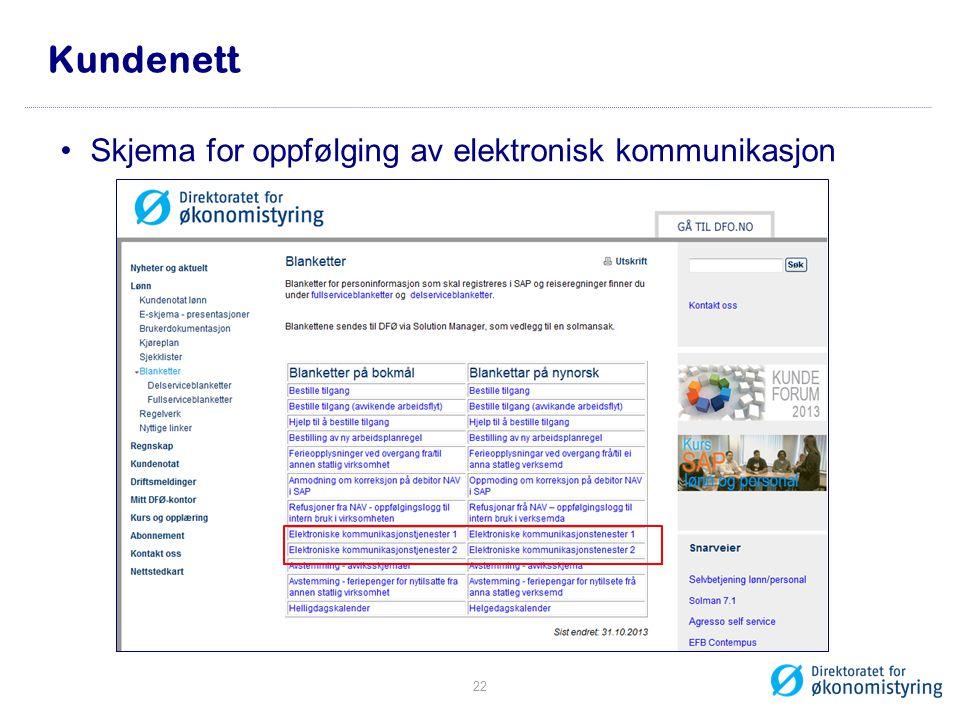 Kundenett Skjema for oppfølging av elektronisk kommunikasjon
