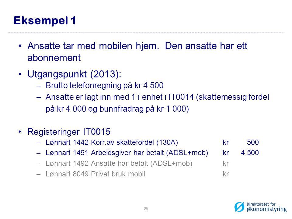 Eksempel 1 Ansatte tar med mobilen hjem. Den ansatte har ett abonnement. Utgangspunkt (2013): Brutto telefonregning på kr 4 500.