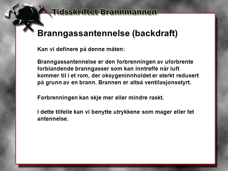 Branngassantennelse (backdraft)
