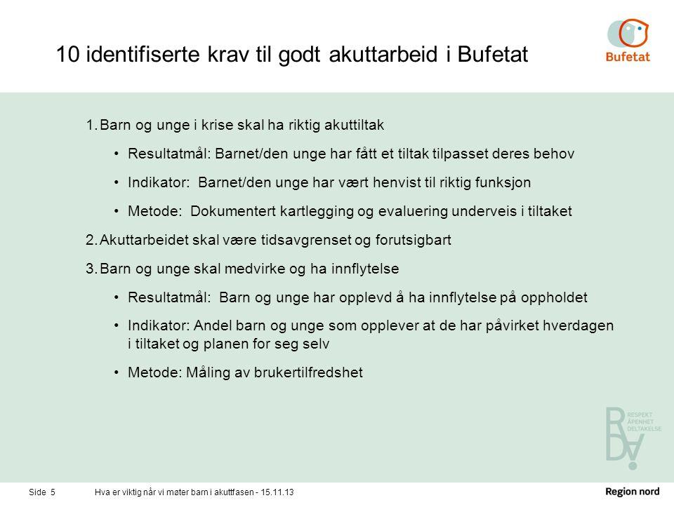 10 identifiserte krav til godt akuttarbeid i Bufetat