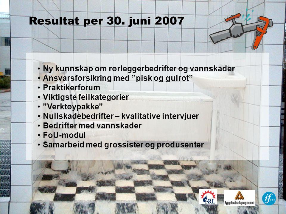 Resultat per 30. juni 2007 Ny kunnskap om rørleggerbedrifter og vannskader. Ansvarsforsikring med pisk og gulrot