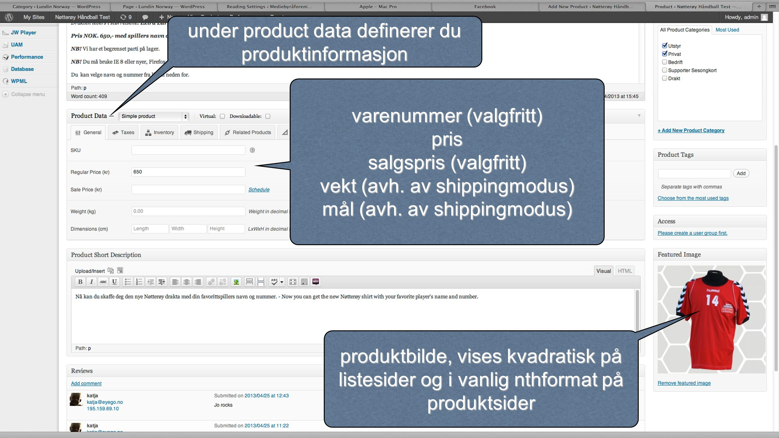under product data definerer du produktinformasjon