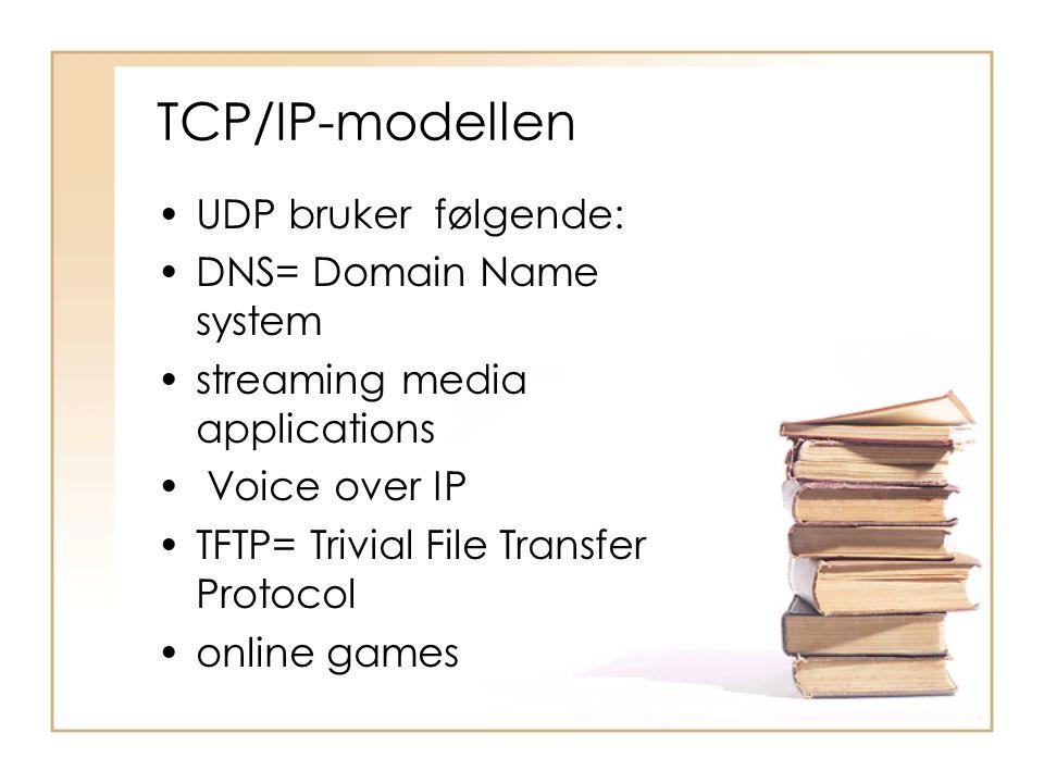 TCP/IP-modellen UDP bruker følgende: DNS= Domain Name system