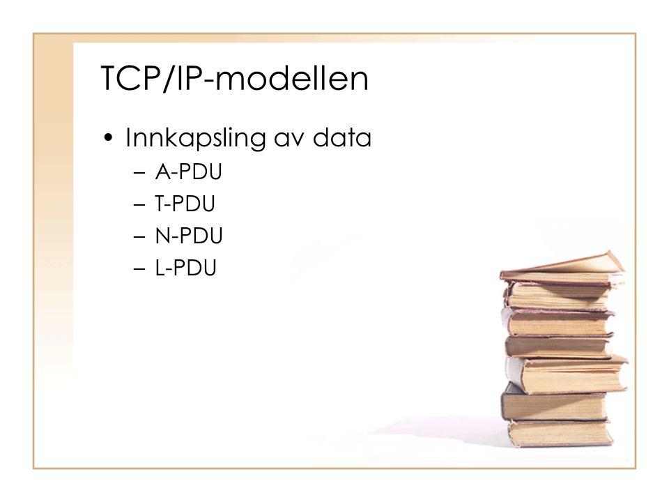 TCP/IP-modellen Innkapsling av data A-PDU T-PDU N-PDU L-PDU