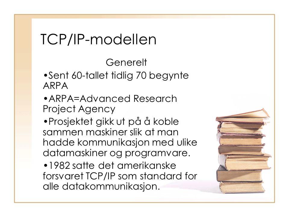 TCP/IP-modellen Generelt Sent 60-tallet tidlig 70 begynte ARPA