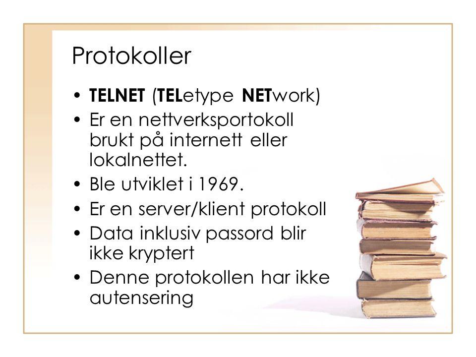 Protokoller TELNET (TELetype NETwork)
