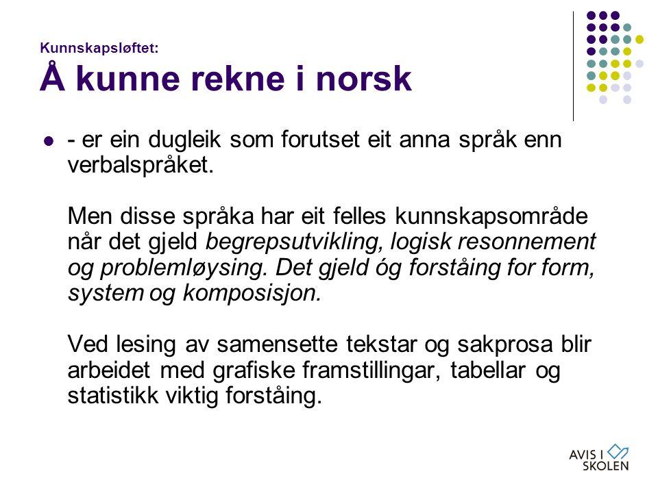 Kunnskapsløftet: Å kunne rekne i norsk