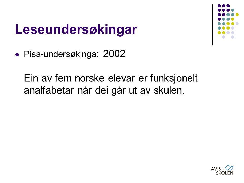 Leseundersøkingar Pisa-undersøkinga: 2002 Ein av fem norske elevar er funksjonelt analfabetar når dei går ut av skulen.