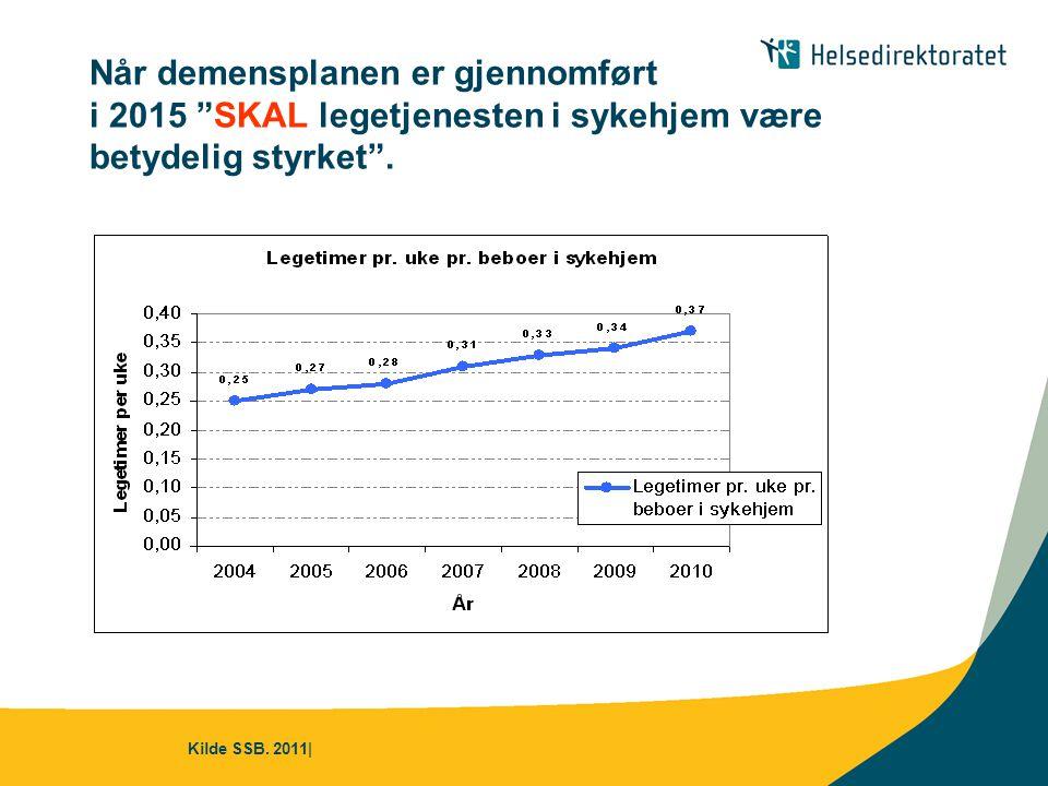 Når demensplanen er gjennomført i 2015 SKAL legetjenesten i sykehjem være betydelig styrket .