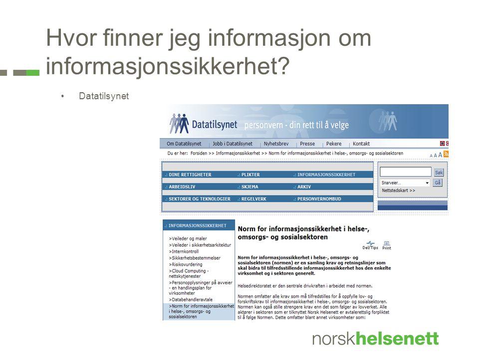 Hvor finner jeg informasjon om informasjonssikkerhet