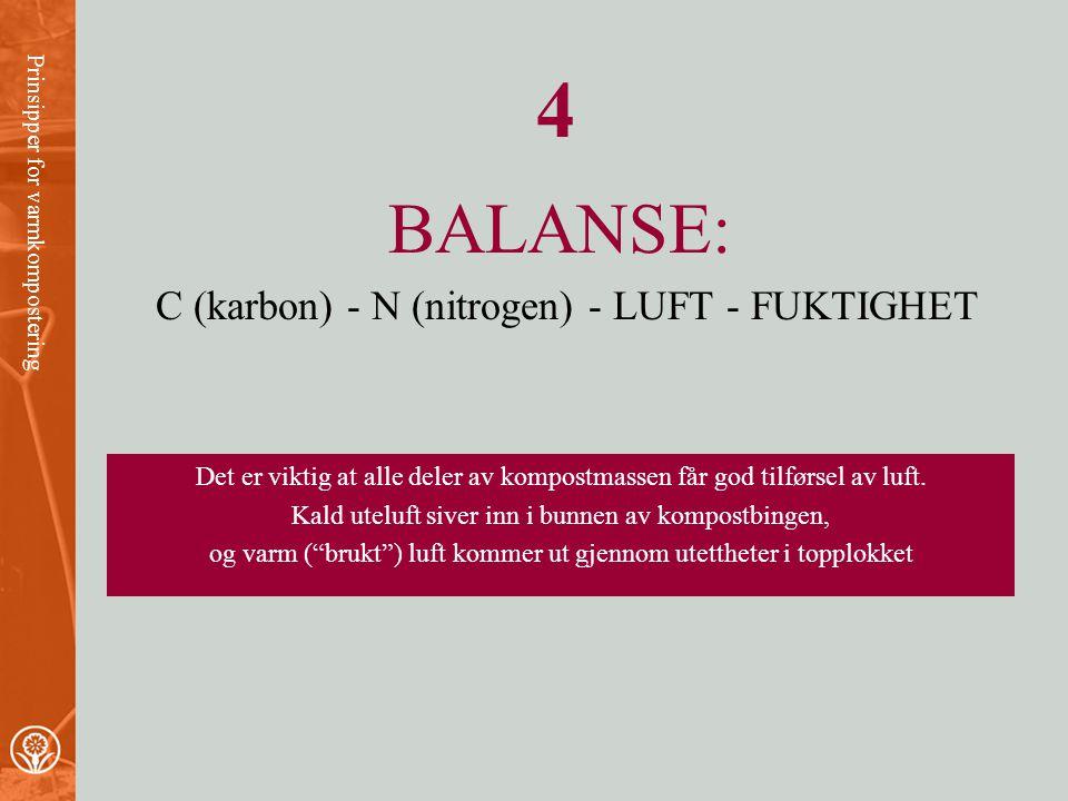 4 BALANSE: C (karbon) - N (nitrogen) - LUFT - FUKTIGHET